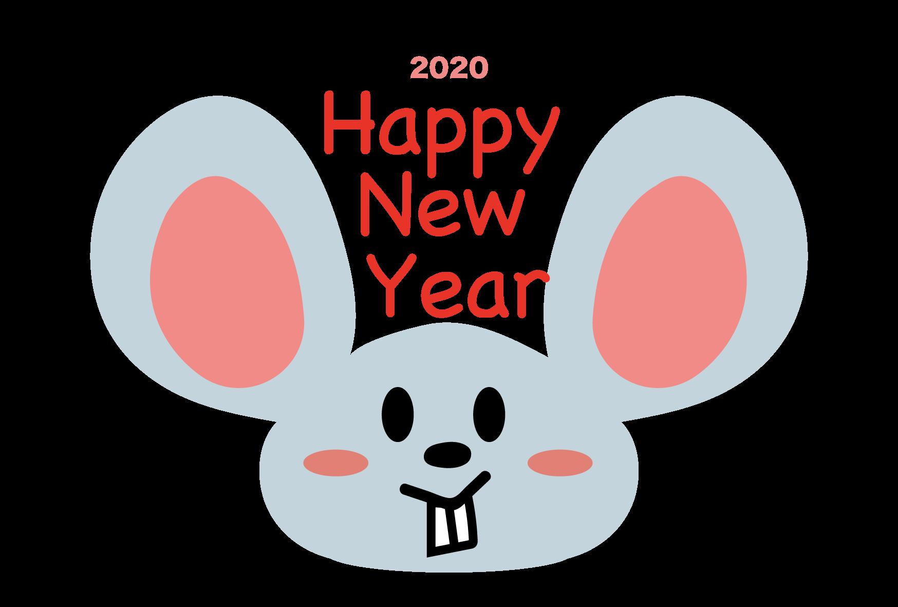 年賀状 2020 HAPPY NEW YEAR テンプレートおしゃれイラスト!無料素材 ねずみの顔UP