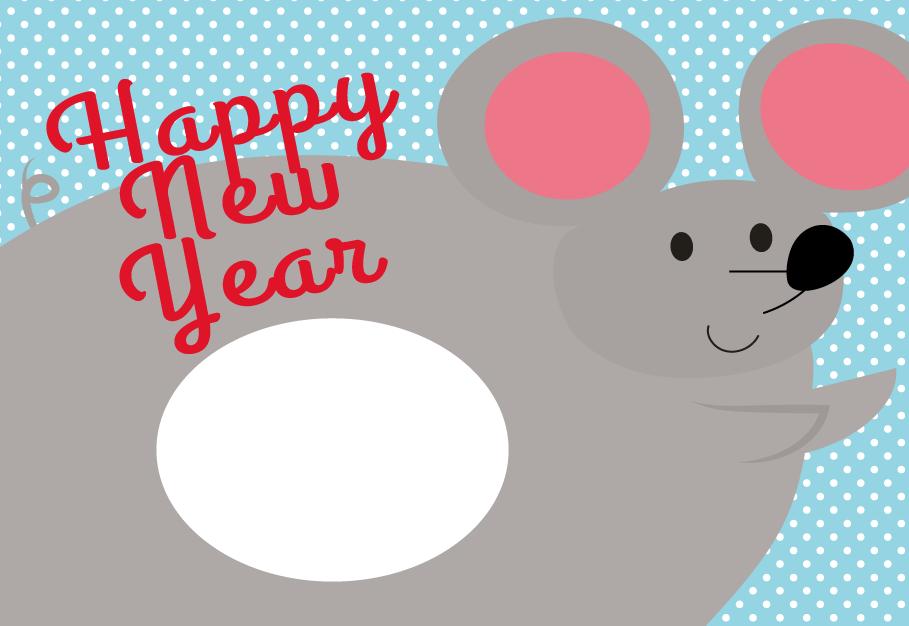 かわいい!年賀状 2020 Happy New Year テンプレートイラスト無料素材 大きな ねずみの令和2年 年賀状