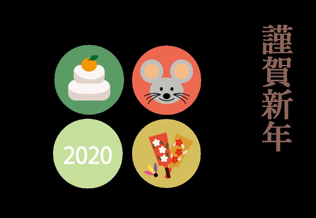 簡単!年賀状印刷!年賀状 2020 テンプレート お正月「謹賀新年」ネズミ イラスト